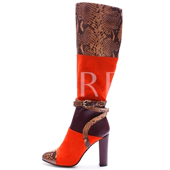 Printing Patchwork Color Block Women's Boots