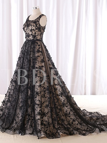A-Line Round Neck Beading Lace Court Train Evening Dress