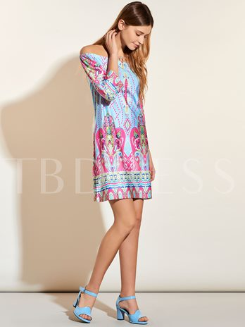 Off The Shoulder Floral Ethnic Women's Day Dress