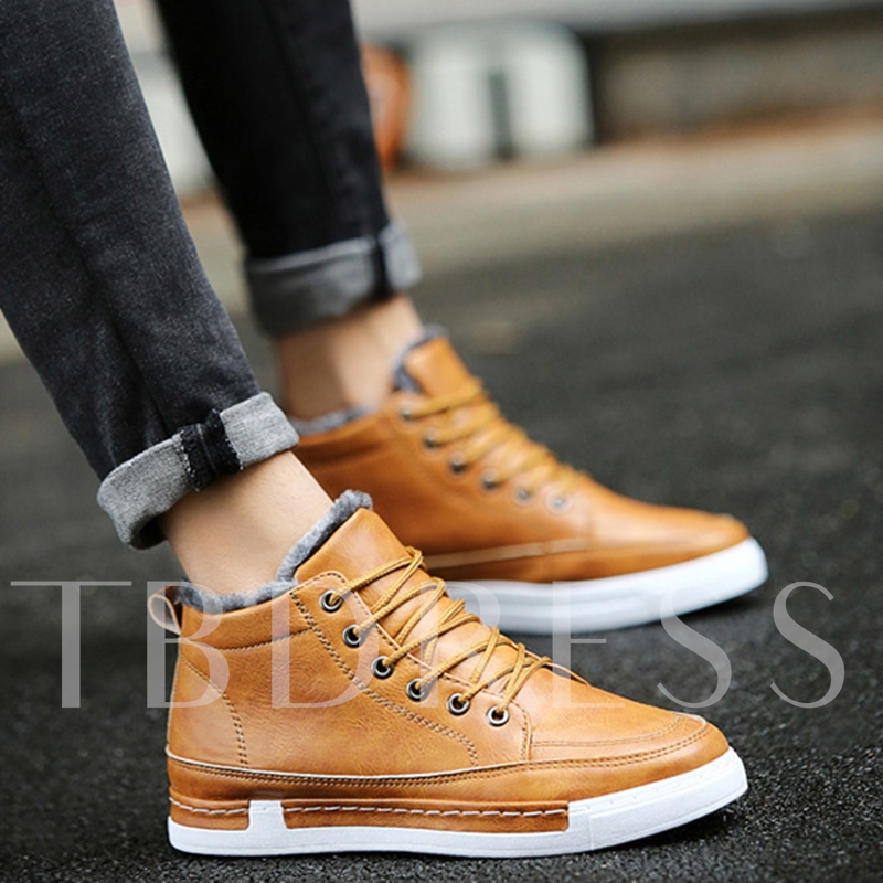 Short Floss Round Toe Flat Heel Ankle Men's Boots