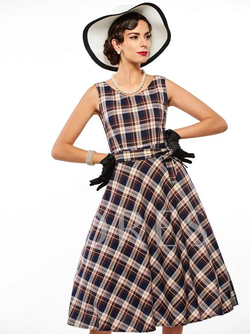 Plaid Round Neck Sleeveless Women's Day Dress