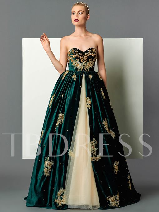 Sweetheart Velvet Appliques Beading Embroidery Floor-Length Evening Dress