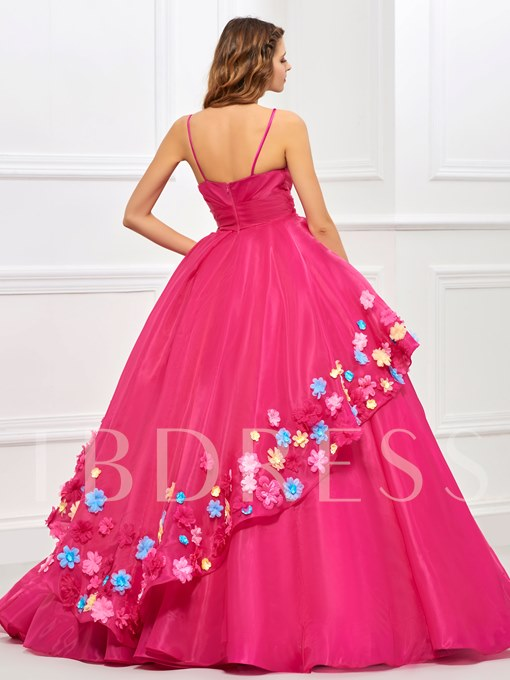 Ball Gown Spaghetti Straps Pleats Flowers Quinceanera Dress