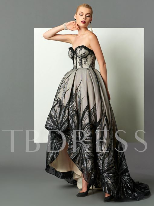 Sweetheart Ball Gown Lace Sequins Asymmetry Evening Dress