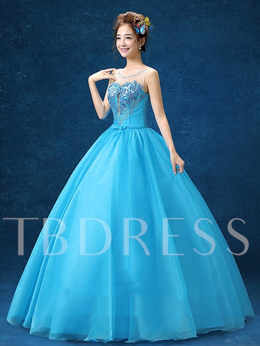 Scoop Ball Gown Beading Embroidery Long Quinceanera Dress