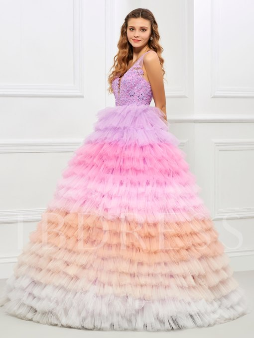 V-Neck Ball Gown Appliques Beading Tiered Quinceanera Dress