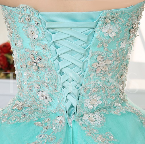 Pleats Sweetheart Appliques Rhinestone Quinceanera Dress