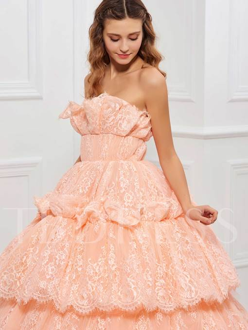Scalloped-Edge Lace Tiered Long Quinceanera Dress