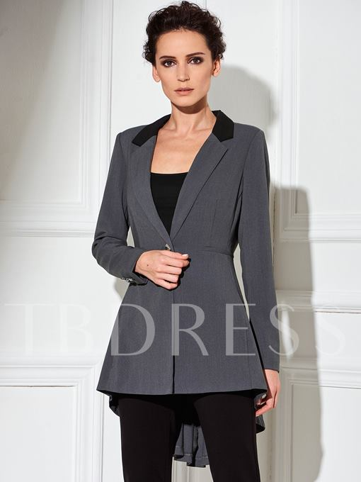 One Button Lapel Long Sleeve Women's Trench Coat