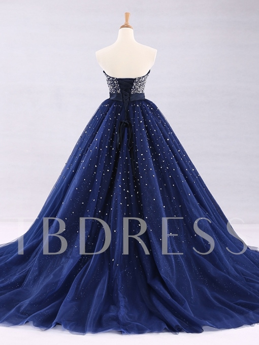 Strapless Ball Gown Beaded Floor-Length Quinceanera Dress