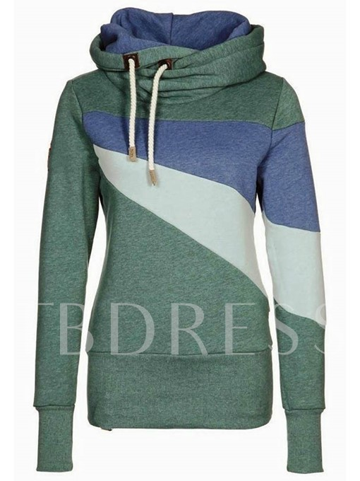 Multi-Color Stand Collar Women's Hoodie
