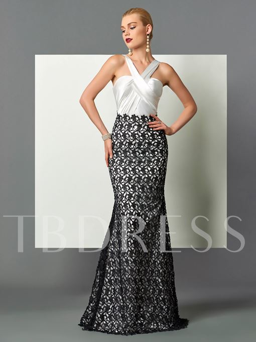 Halter Mermaid Lace Pleats Sweep Train Evening Dress