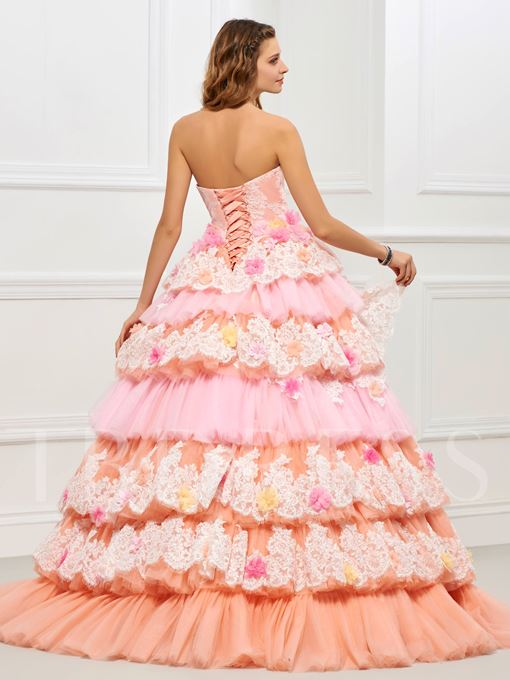 Strapless Ball Gown Appliques Lace Tiered Quinceanera Dress
