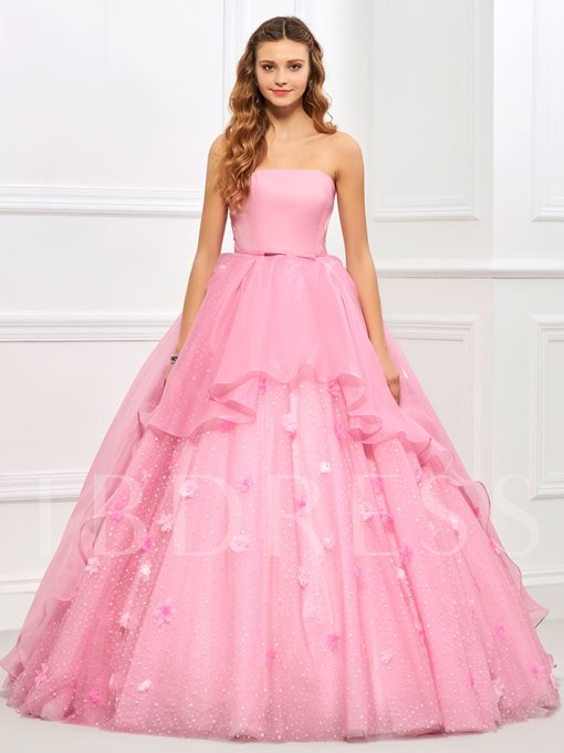 Strapless Ball Gown Sashes Flowers Floor-Length Quinceanera Dress