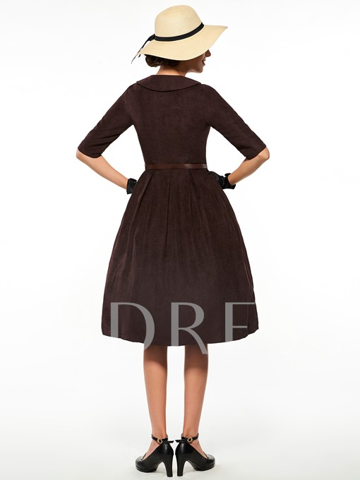 Lapel Belt Button Zipper Graceful Women's Day Dress
