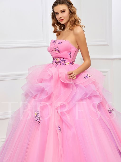 Strapless Ball Gown Embroidery Pleats Floor-Length Quinceanera Dress