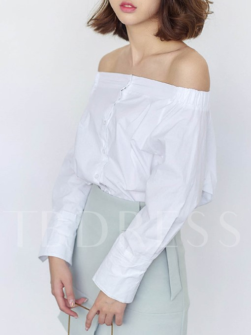 Slash Neck Single-Breasted Women's Blouse