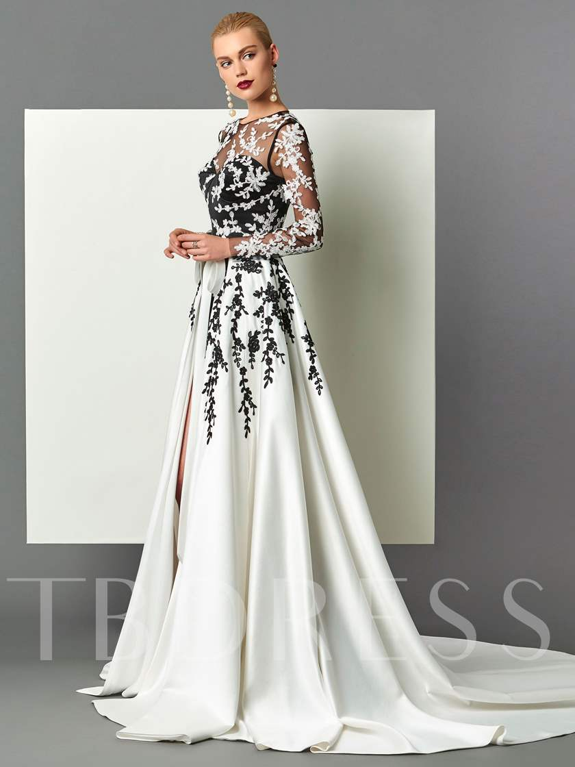 Sheath Scoop Long Sleeves Appliques Sashes Court Train Evening Dress