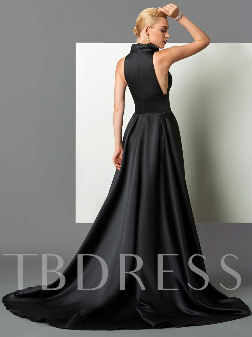 Bowknot High Neck Black Halloween Evening Dress