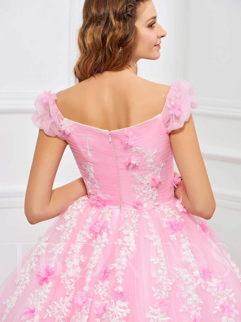 Flowers Sweetheart Appliques Ball Gown Ruched Floor-Length Quinceanera Dress