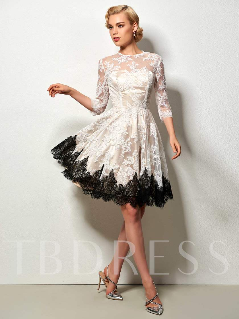 Jewel A-Line Long Sleeves Button Lace Knee-Length Cocktail Dress