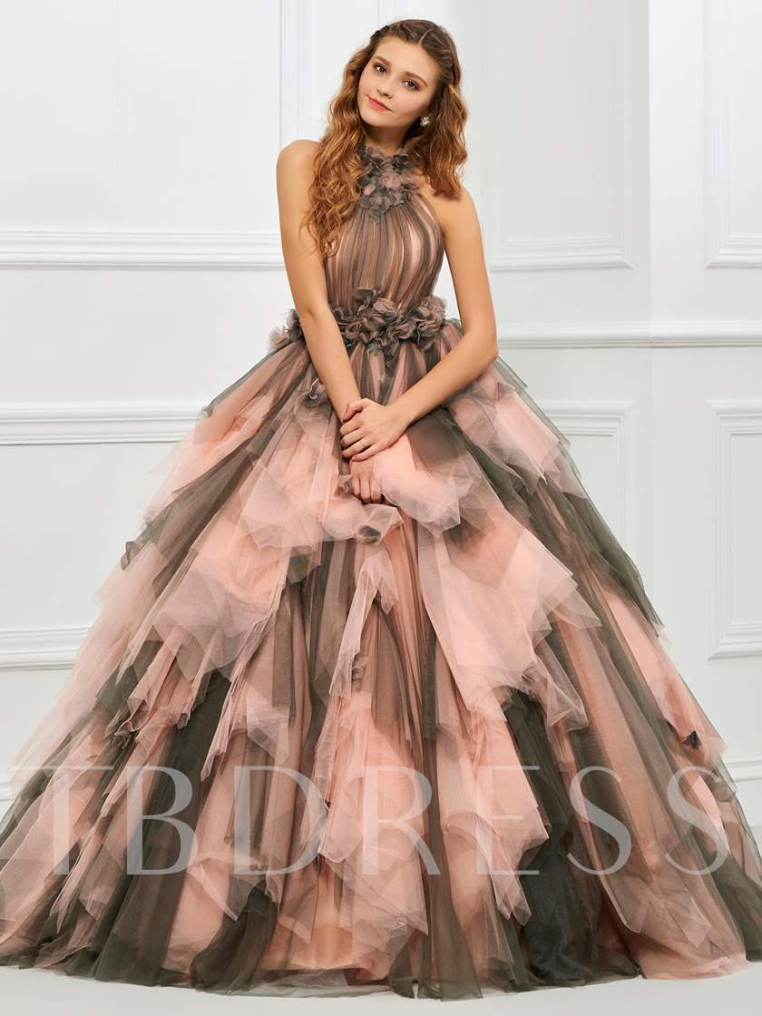 Halter Ball Gown Pleats Floor-Length Quinceanera Dress