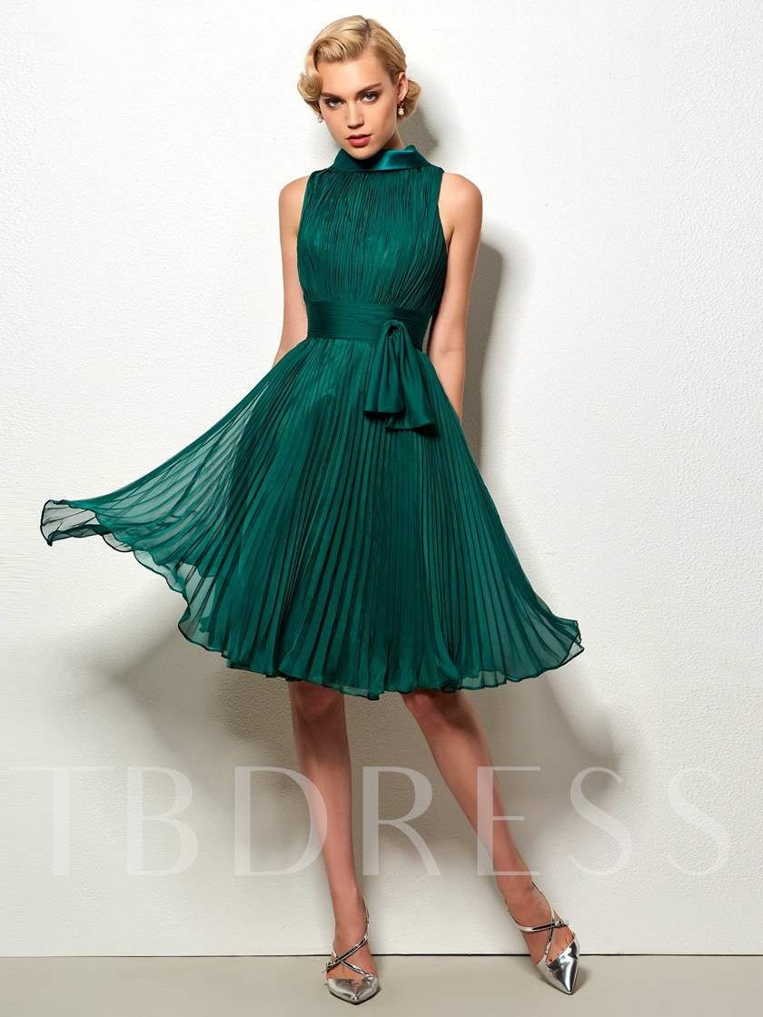 High Neck Sashes Ruched Knee-Lenth Cocktail Dress