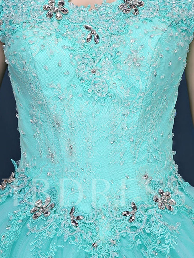 Off-the-Shoulder Beading Rhinestone Lace Quinceanera Dress