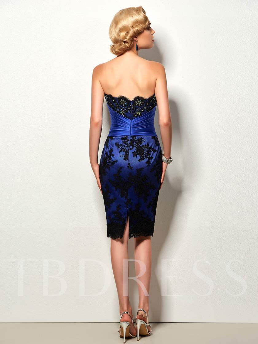 Sheath Strapless Appliques Beading Knee-Length Cocktail Dress