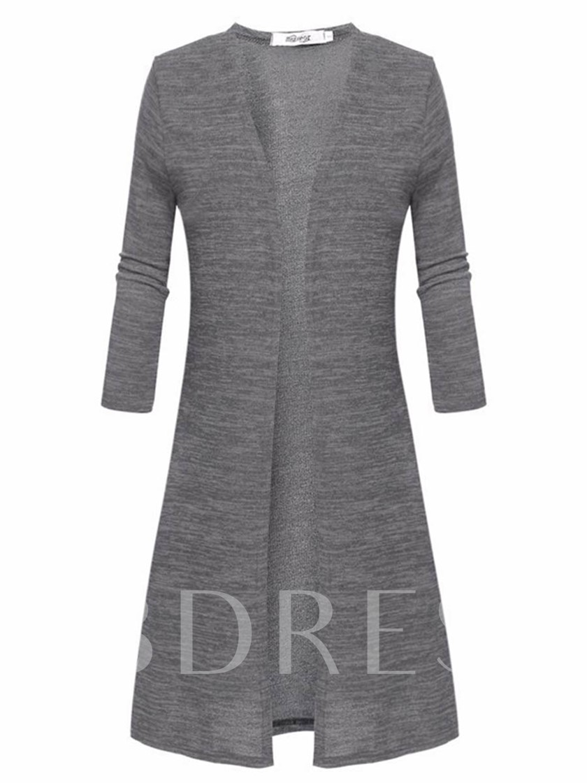Pure Color Mid-Length Simple Women's Cardigan