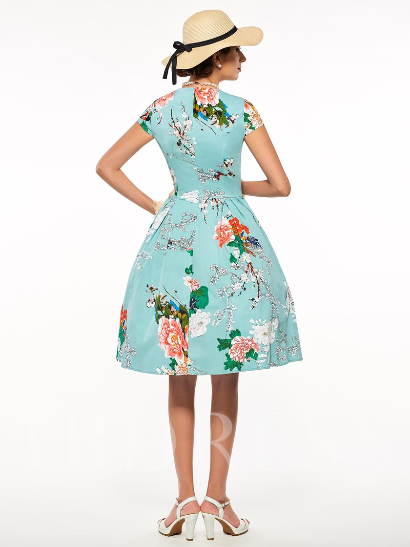 Cap Sleeve Printed Women's Vintage Dress