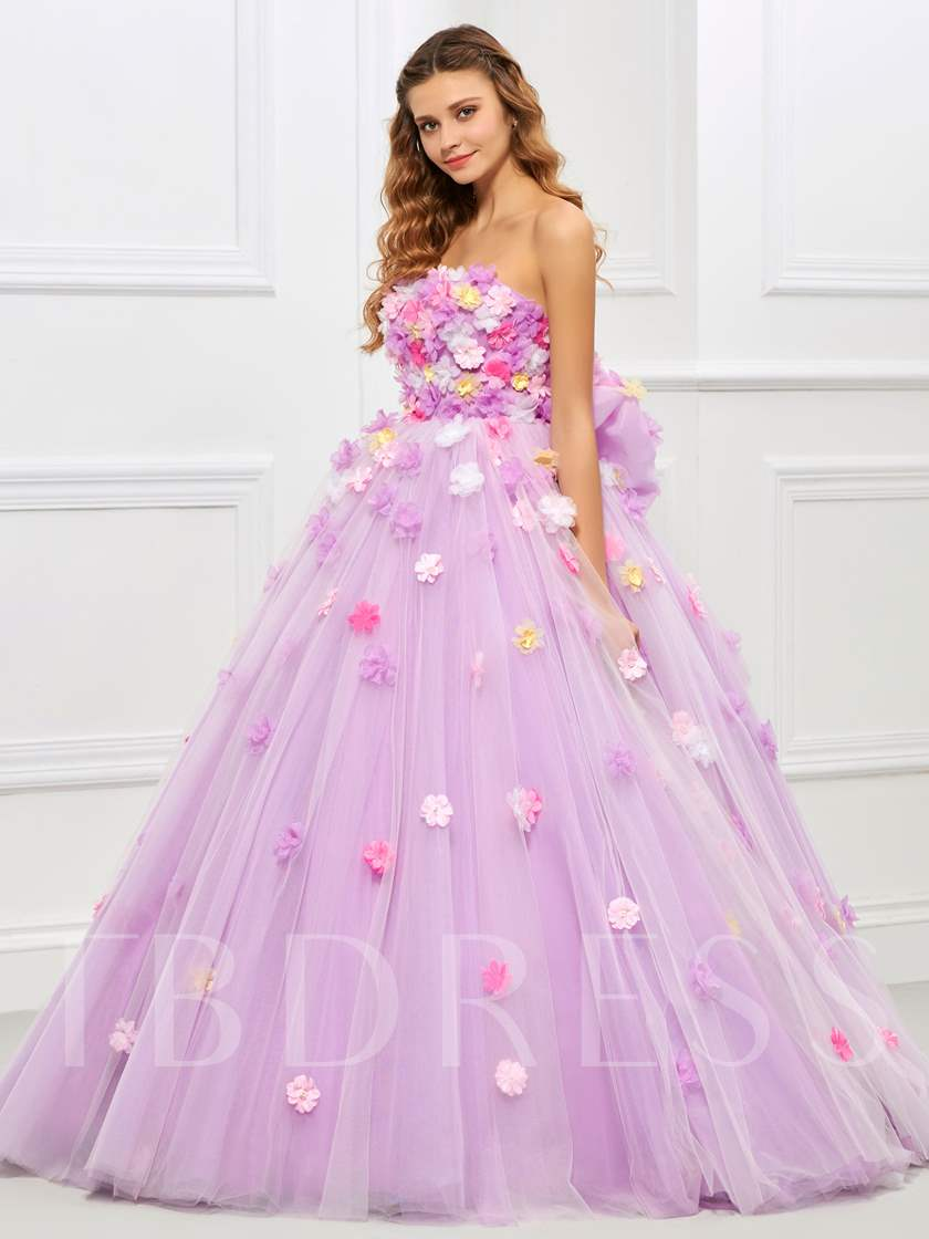 Strapless Ball Gown Bowknot Flowers Quinceanera Dress