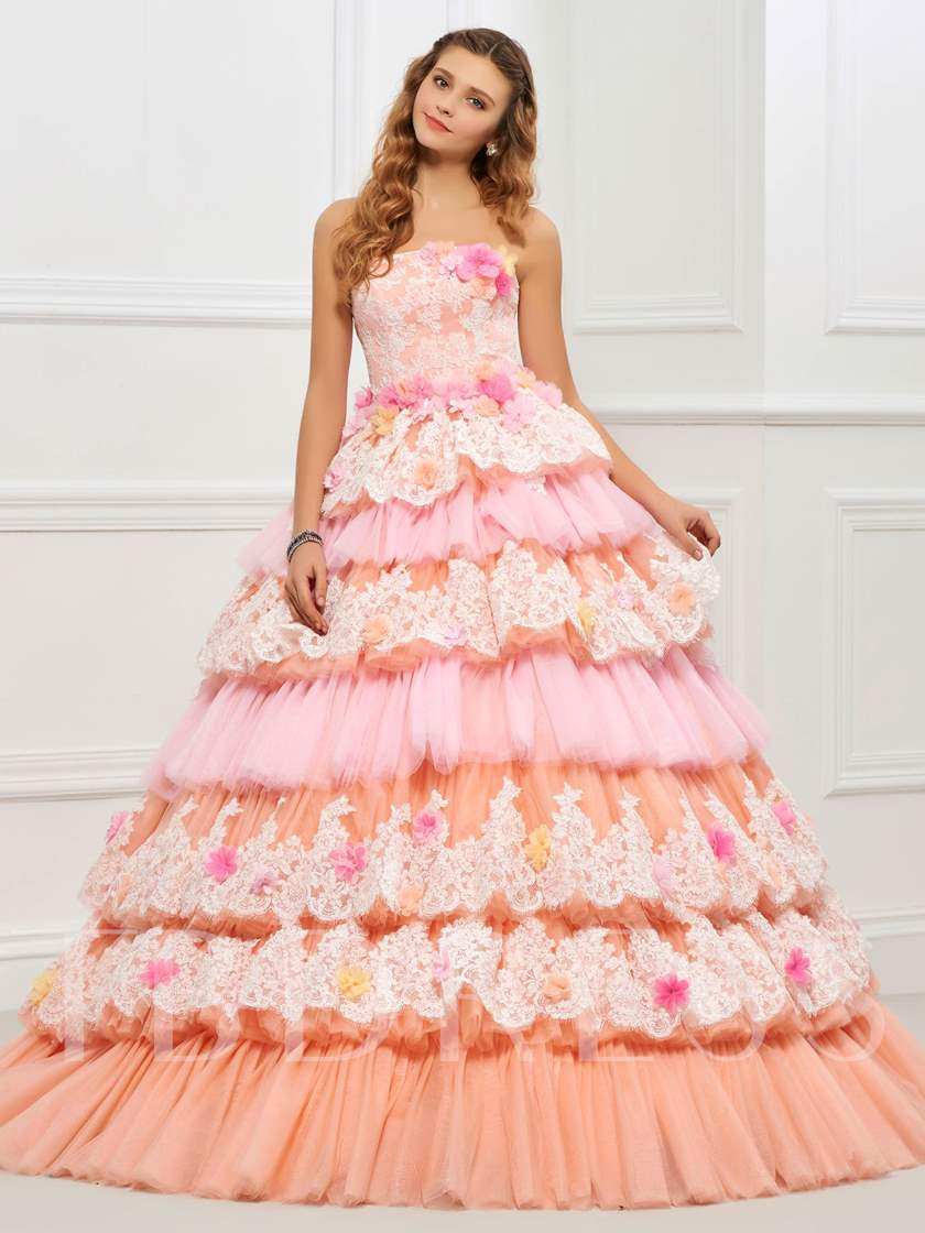Strapless Ball Gown Appliques Lace Tiered Quinceanera Dress ...