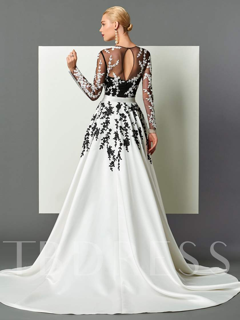 Sheath Long Sleeves Appliques Sashes Evening Dress