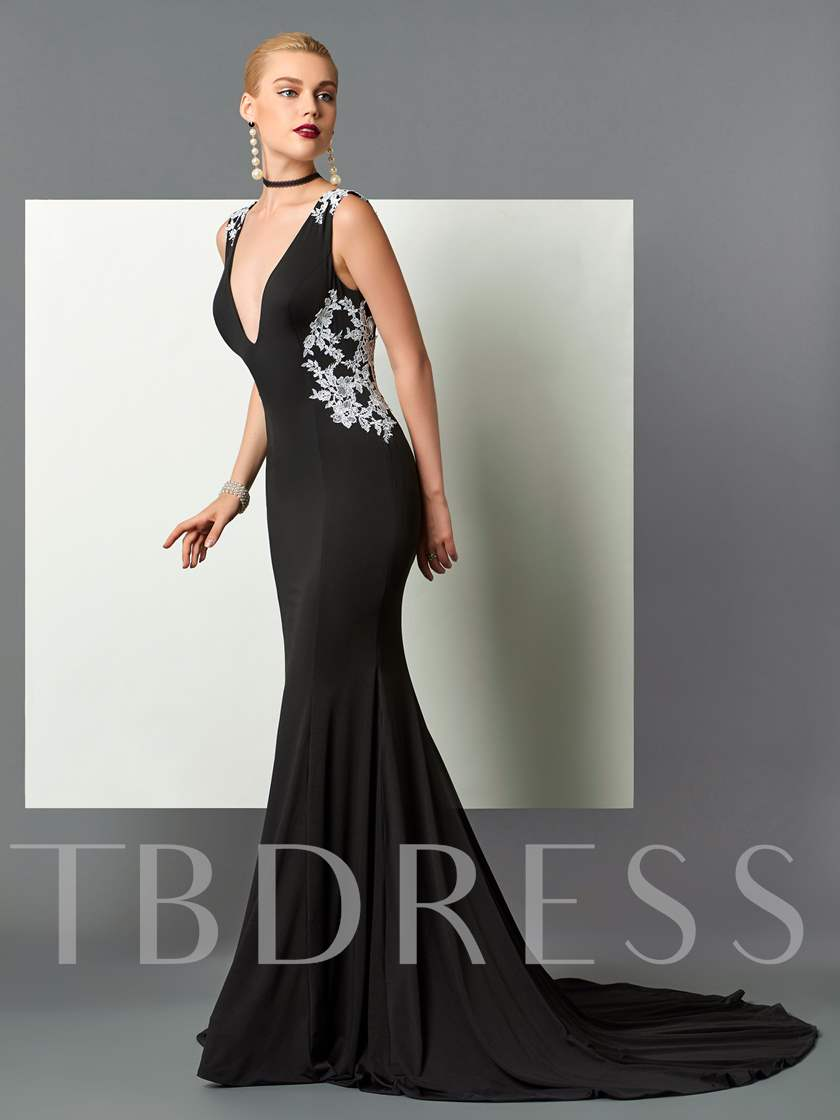 V-Neck Mermaid Appliques Backless Court Train Evening Dress