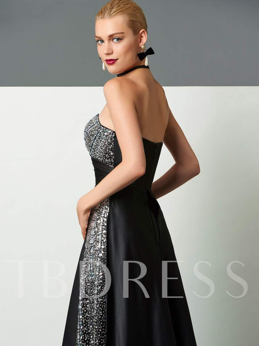 Sequins A-Line Beading Sweetheart Court Train Evening Dress