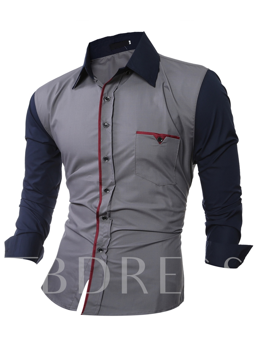 Patchwork Contrast Color Slim Fit Men's Button Down Shirt