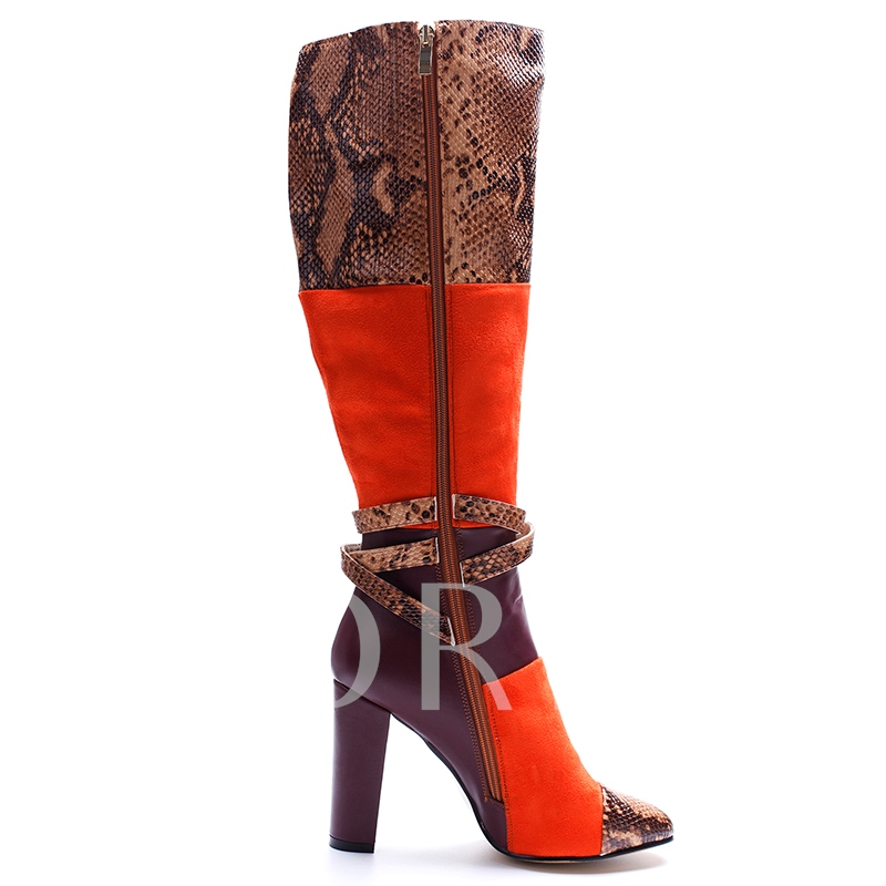 Printing Patchwork Color Block Women's Riding Boots