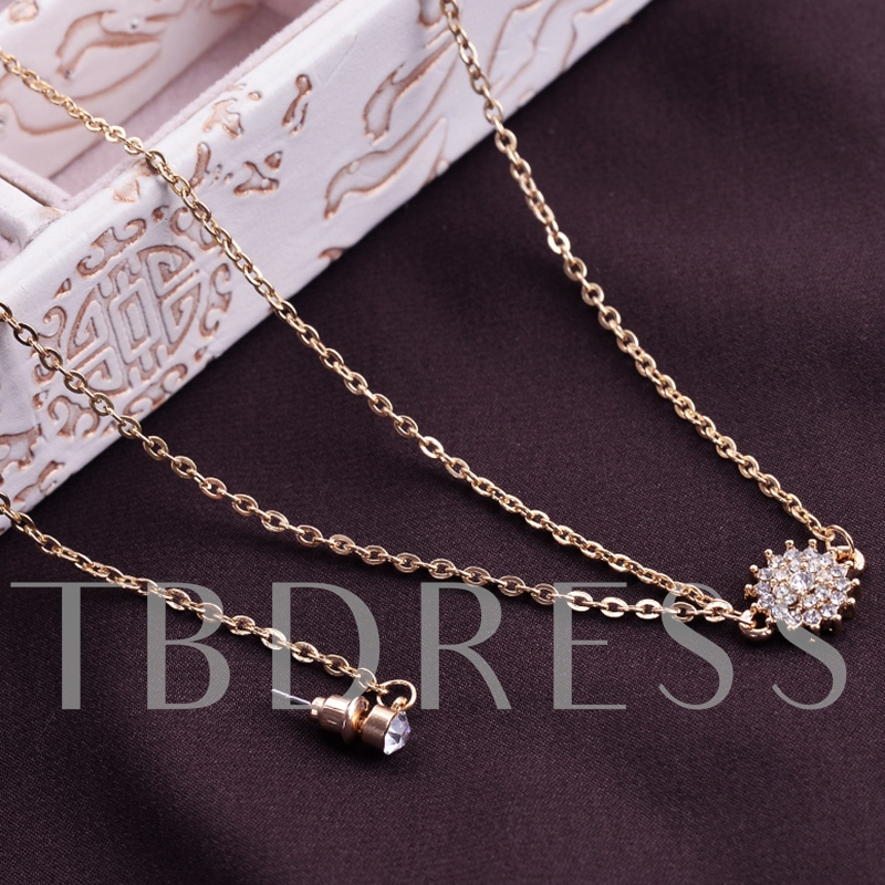 Unique Chain Necklace with Stud Earring