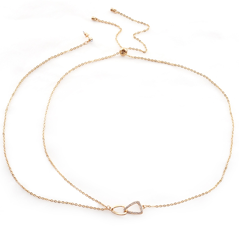 Golden Chain Necklace with Stud Earring