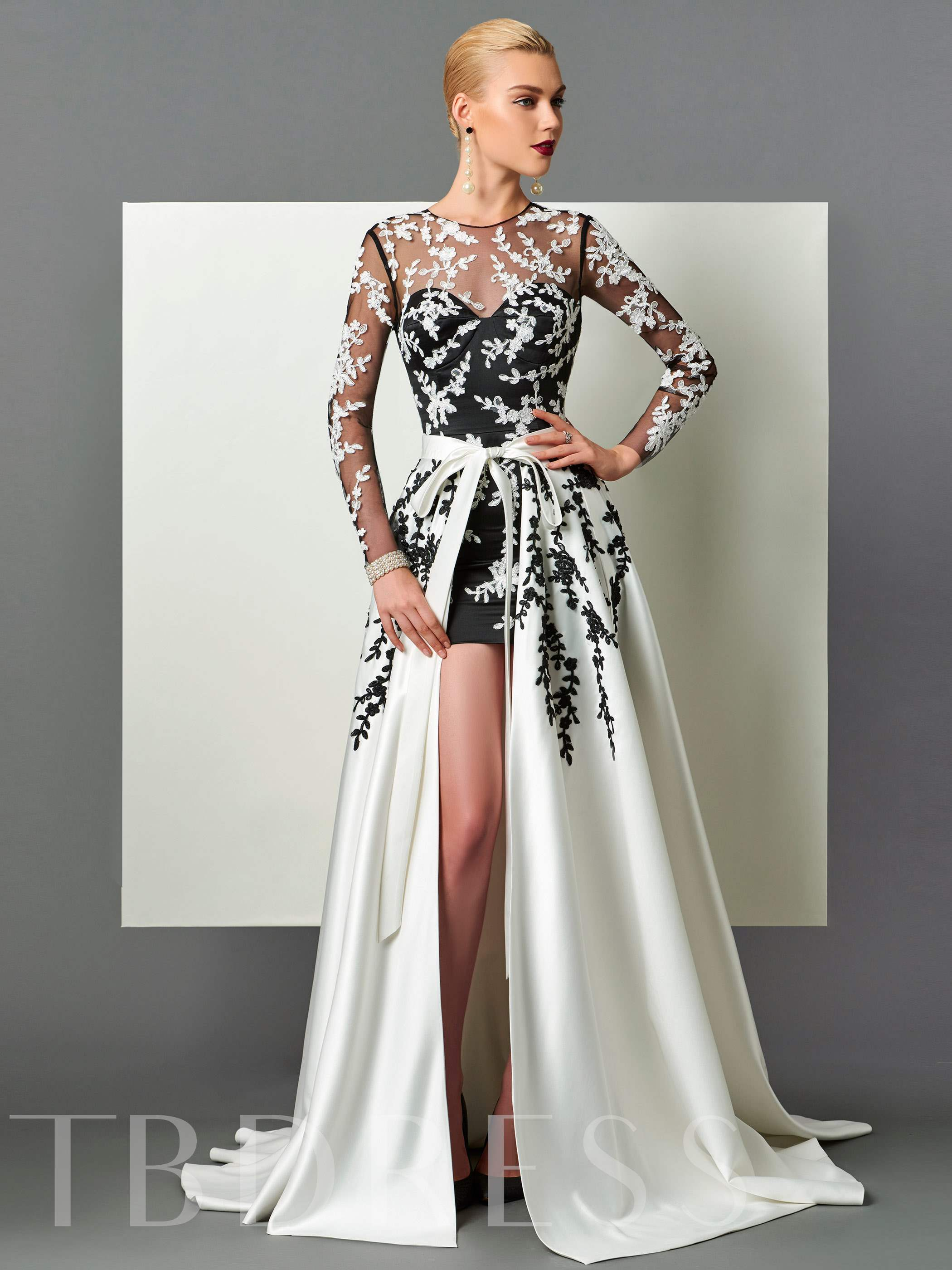 Buy Sheath Scoop Long Sleeves Appliques Sashes Court Train Evening Dress, Spring,Fall,Winter, 12666865 for $174.29 in TBDress store