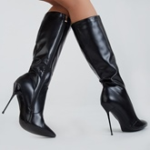 Knee-High Side Zipper Plain Pointed Toe Women's Boots