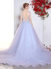 Scoop Ball Gown Appliques Lace Pearls Sweep Train Quinceanera Dress