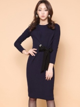 Plain Round Neck Bodycon Dress