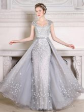 Sweetheart A-Line Cap Sleeves Pearls Floor-Length Evening Dress