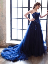 Sweetheart A-Line Appliques Beading Evening Dress