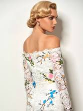 Off-the-Shoulder Appliques Embroidery Lace Cocktail Dress