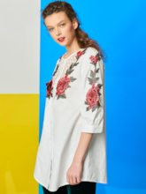 Chic Floral Long Sleeve Round Neck Women's Blouse
