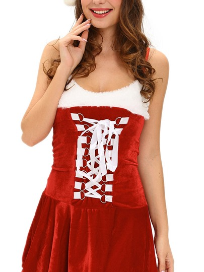 Spaghetti Strap Pleated Patchwork Christmas Costume