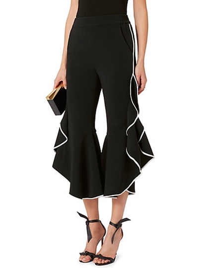 High Waisted Black Chiffon Falbala Women's Pants